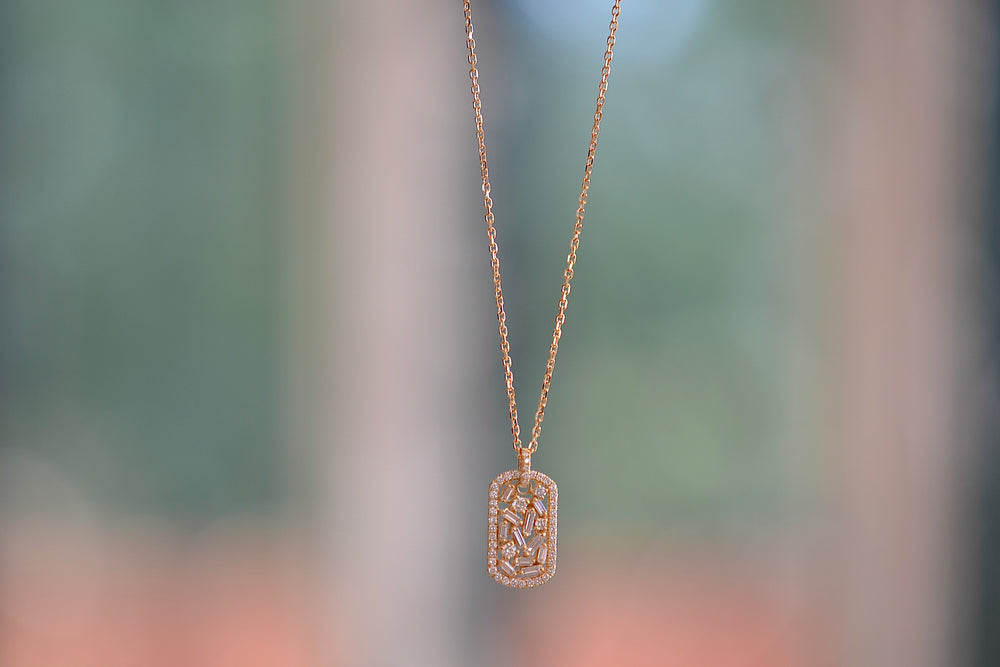 Suzanne Kalan 18k yellow gold Mini Diamond Dog Tag Necklace  Baguette round square pave diamonds