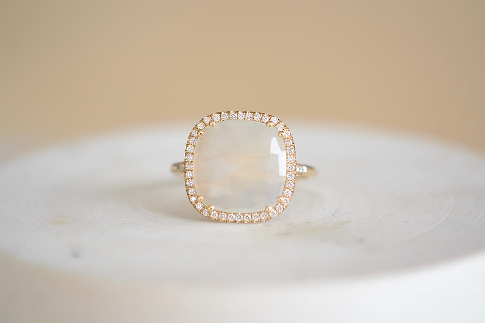 Cushion Cut Moonstone Ring