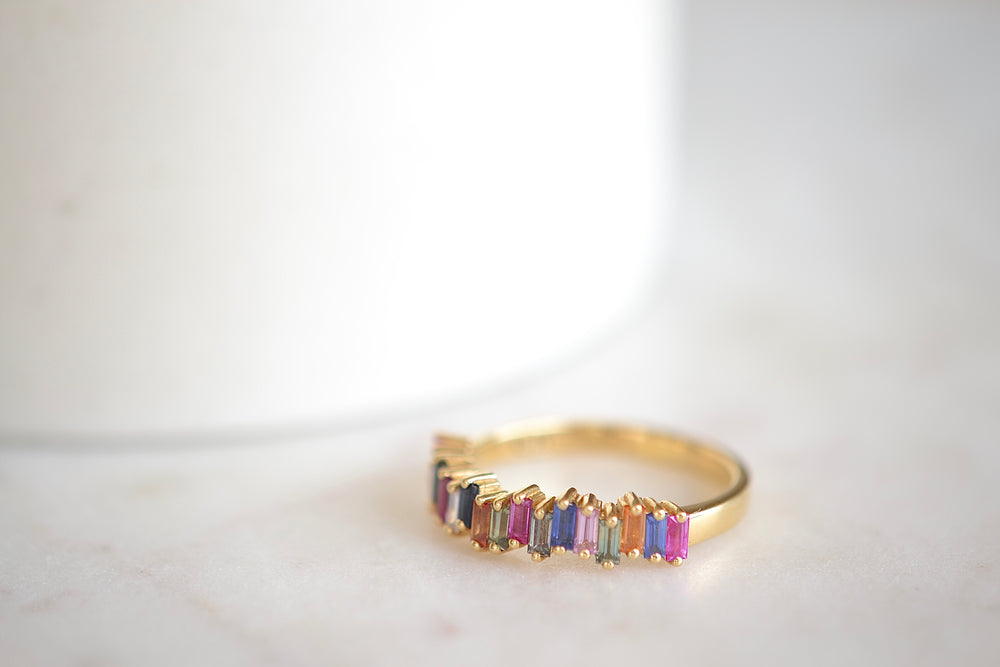 Yellow Gold Rainbow Sapphire Half Eternity Band