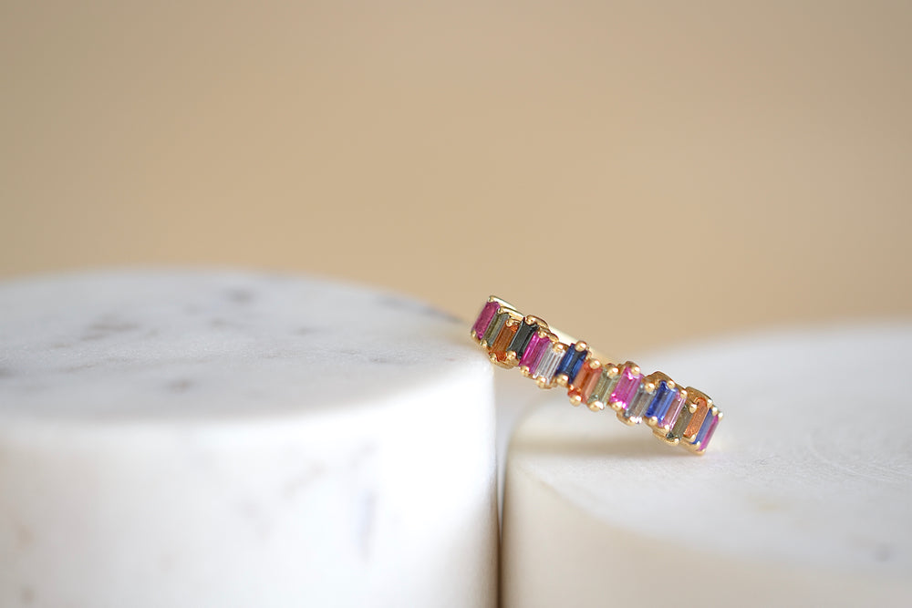 Load image into Gallery viewer, Suzanne Kalan Rainbow Sapphire Half Eternity Band vertical baguette sapphires 18k yellow gold