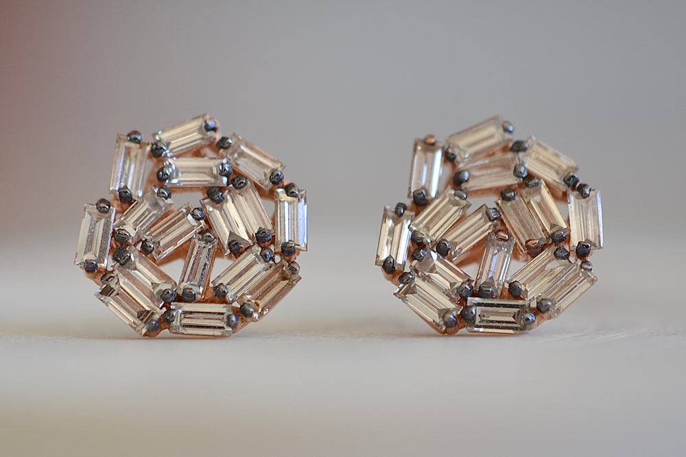 Round Baguette Studs in two sizes