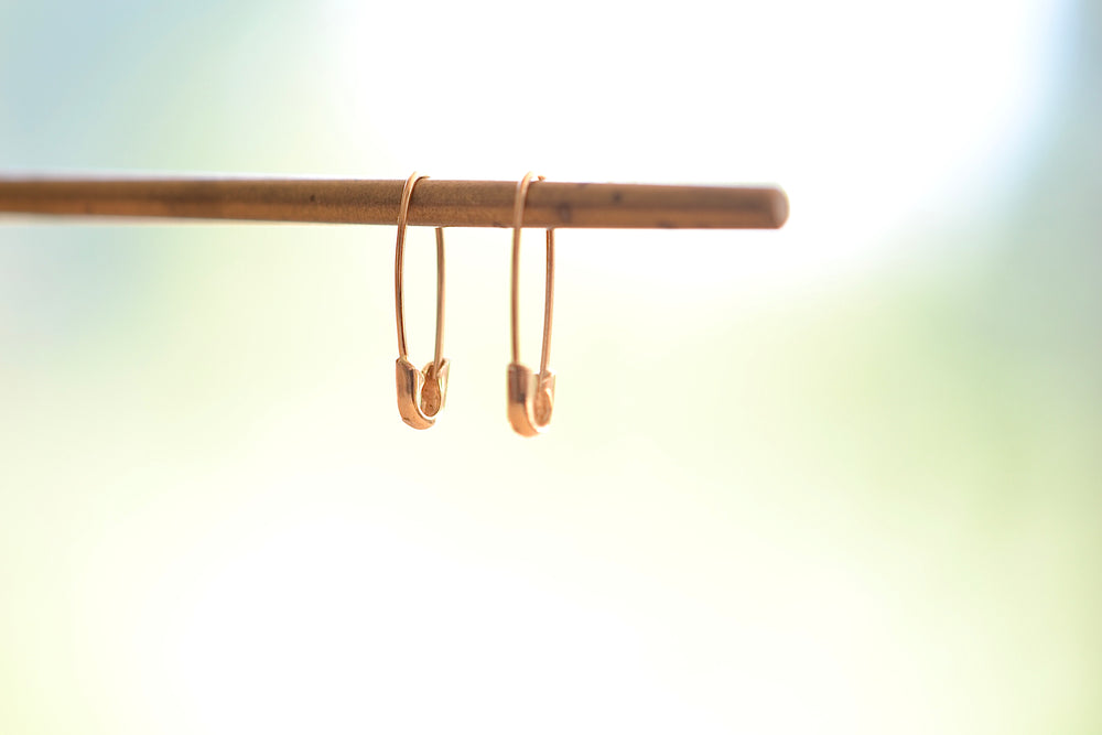Loren Stewart Safety Pin Earrings 14k Yellow Gold Mini