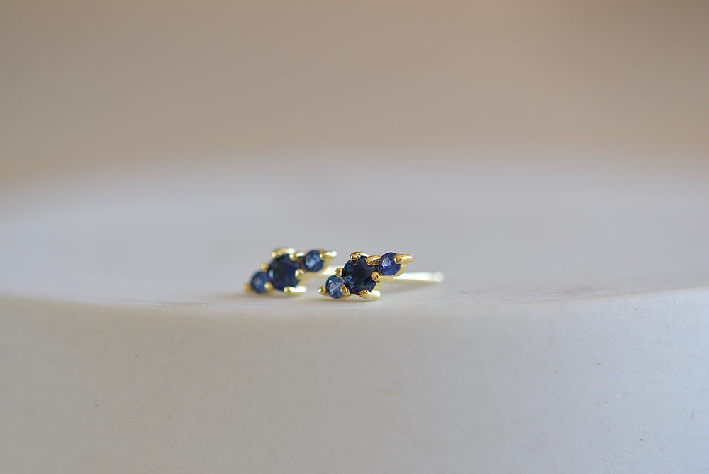 Ila Hanley Stud Studs Earrings in blue sapphire and 14k yellow gold sustainable recycled