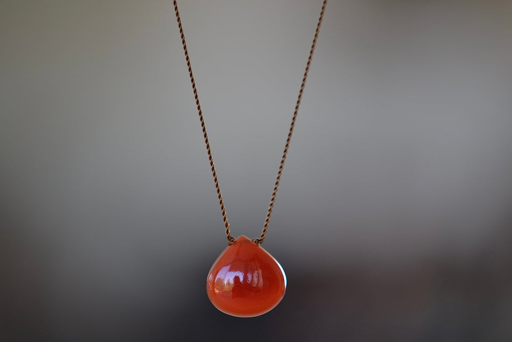 Smooth Specetite Garnet Zen Gem Necklace