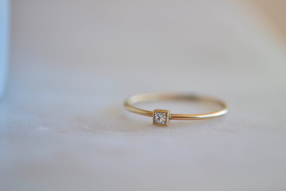 Single Small Square Diamond Ring