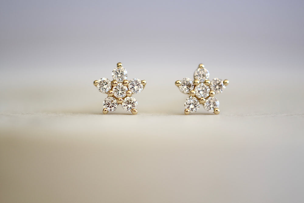 OK Diamond Flower Stud Pave Flower 6 six diamond stud 14k yellow gold