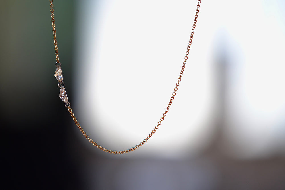 TAP by Todd Pownell Marquise Double Diamond 2 two diamonds Necklace offset platinum links 18k yellow gold chain organic one of a kind