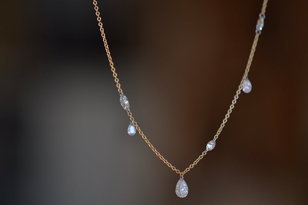 TAP by Todd Pownell Marquise and Pear Free Set Diamond 11 eleven diamonds Necklace offset platinum links 18k yellow gold chain organic one of a kind