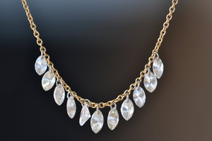 TAP by Todd Pownell Marquise Diamond Fringe Free Set Necklace Platinum links 18k Yellow Gold Chain 11 diamonds ethically sourced made in Ohio US
