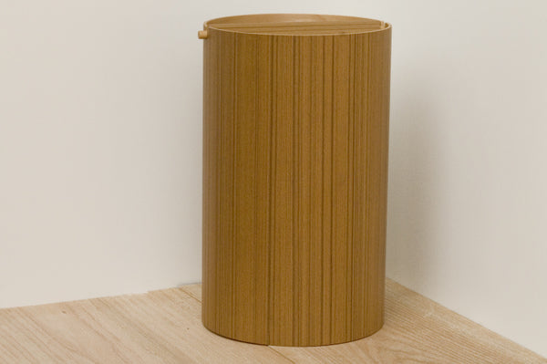 Japanese Teak Wastebasket With Lid