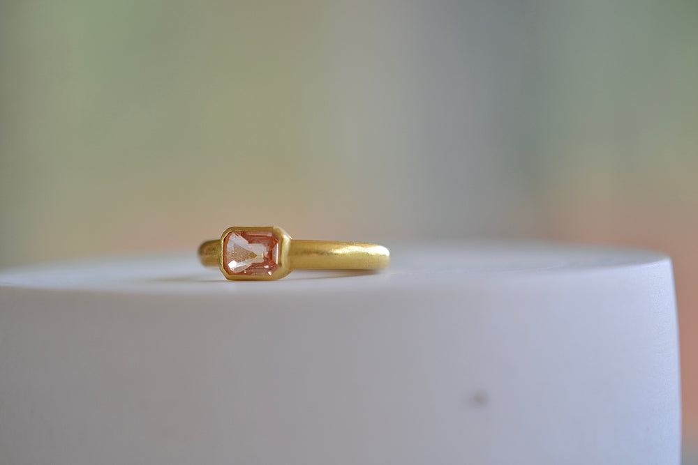 Kothari Orange Sapphire Ring 22k yellow gold  Tej