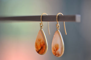 Tej Kothari for Source. Pear shaped Dendritic Agate stone Earrings in 18k yellow gold bezel and ear wire. One of a kind.