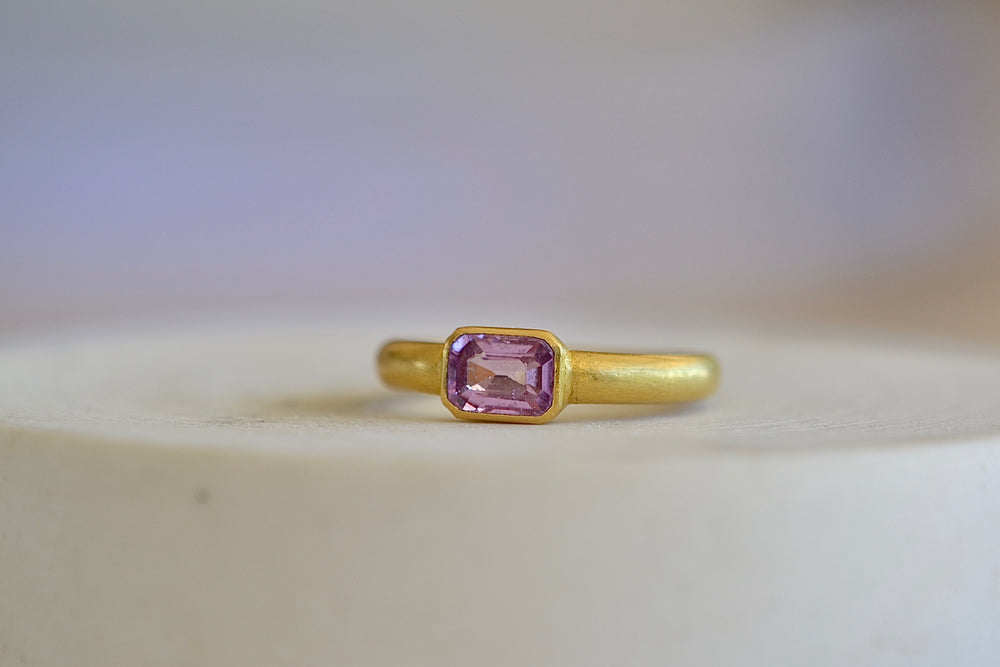 Tej Kothari designed 22k yellow gold emerald cut pink lilac sapphire ring