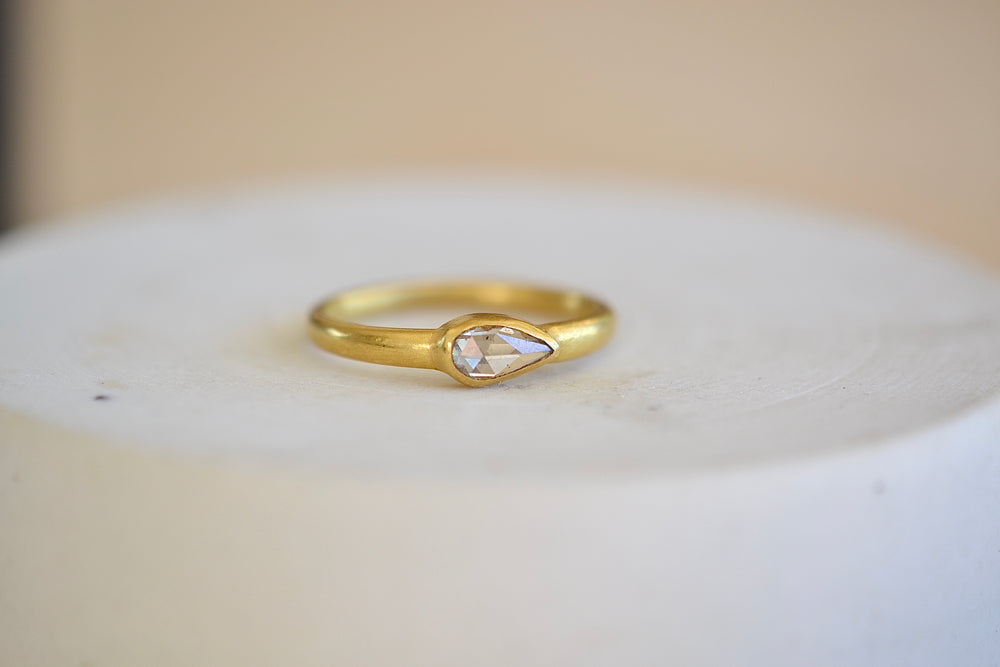 Tej Kothari Champagne Diamond Ring 22k yellow gold rose cut teardrop one of a kind
