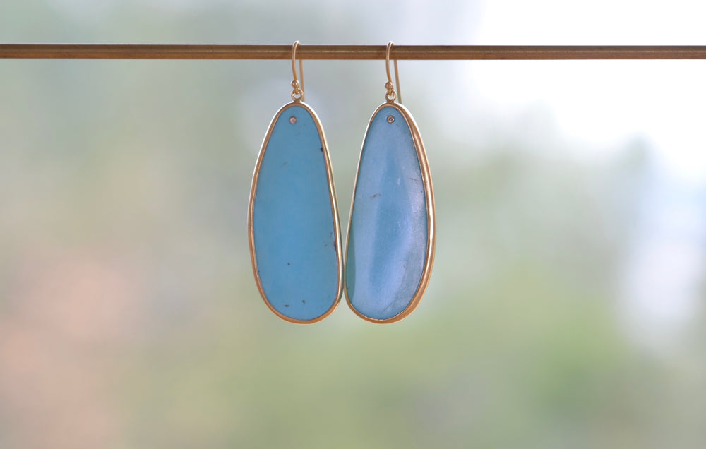 Load image into Gallery viewer, Tej Kothari Large Turquoise Slice Earrings 18k yellow gold earwire ear wire tiny diamond long