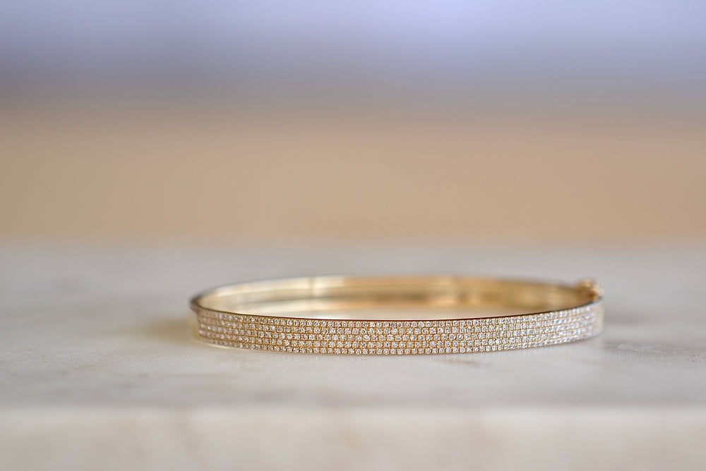 OK Thick Three Row Pave Bracelet Oval half eternity 3 rows of white pave pavé diamonds in 14k yellow gold double hook closure classic