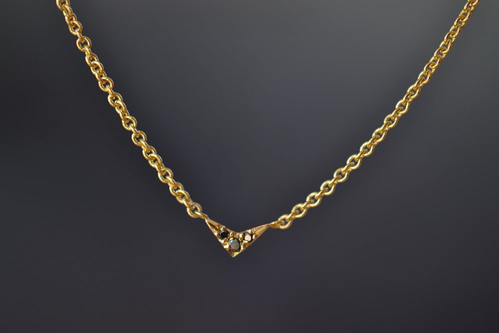 Lizzie Mandler Tiny V pendant necklace with three 3 black diamonds on 18k yellow gold chain charm  pavé