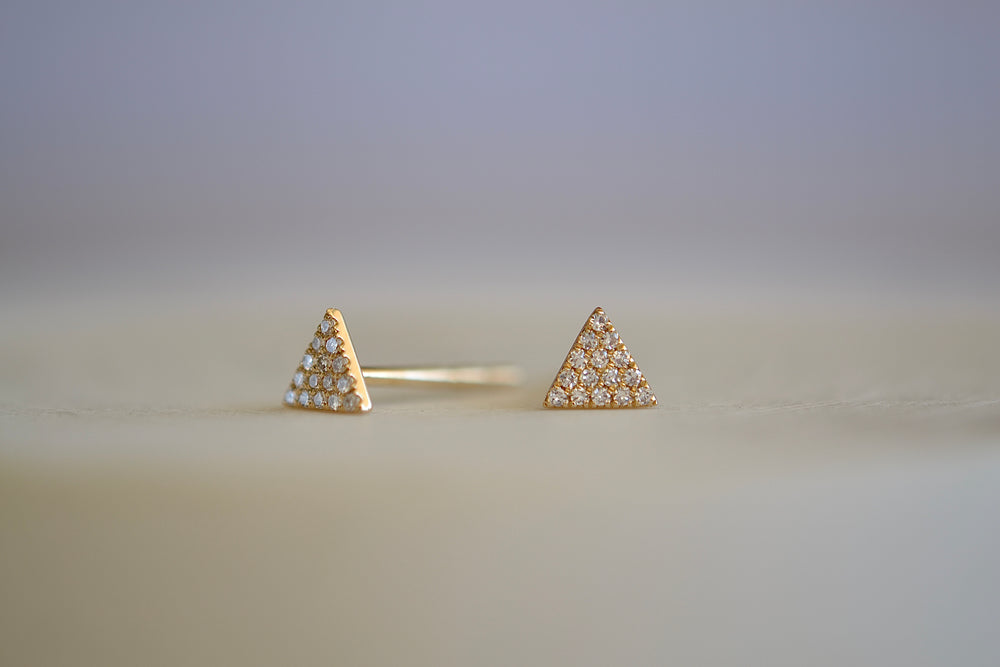 OK Triangle Pave Studs fifteen 15 white diamonds each 14k yellow gold