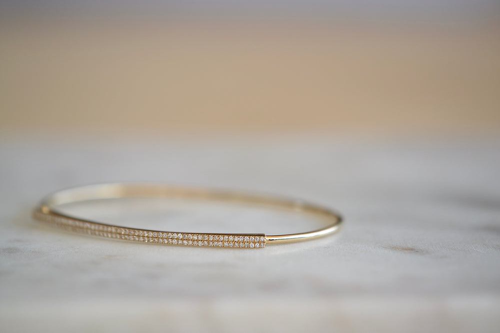 Load image into Gallery viewer, OK Large Pave Pavé Bar with Hook Bracelet white diamonds oval 14k yellow gold