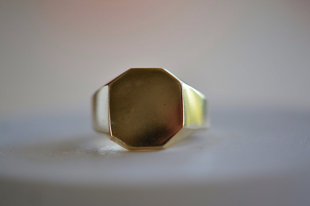 Makiko Wakita Octagonal Mirror Signet Ring 14k yellow gold solid
