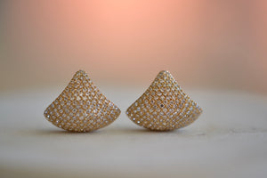 OK Huggie Shield white diamond Pave Pavé Ear Cuffs Earrings Vessels 14k Yellow gold crisp classic hinged