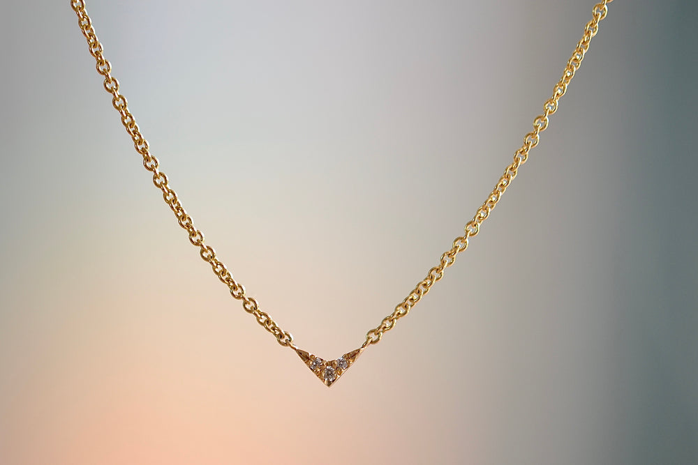 Lizzie Mandler Tiny V pendant necklace with three 3 white diamonds on 18k yellow gold chain charm  pavé