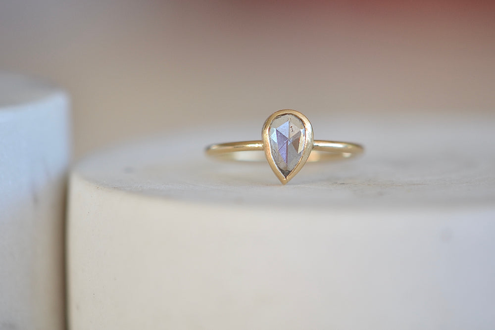 White Teardrop Diamond Ring