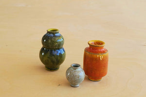 Miniature Handthrown Ceramic Vase Trio - Incised Stoneware