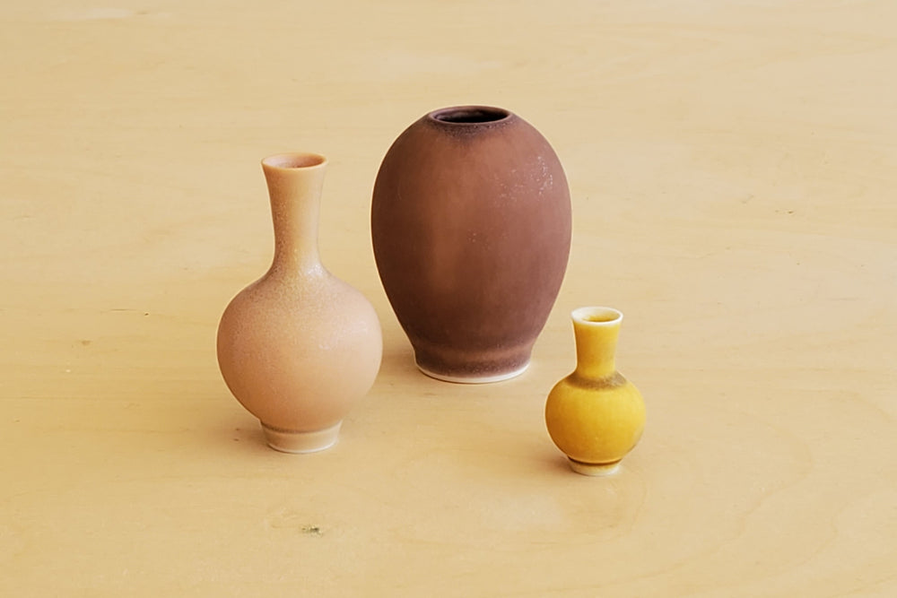 Miniature Handthrown Ceramic Vase Trio - Plum To Mustard