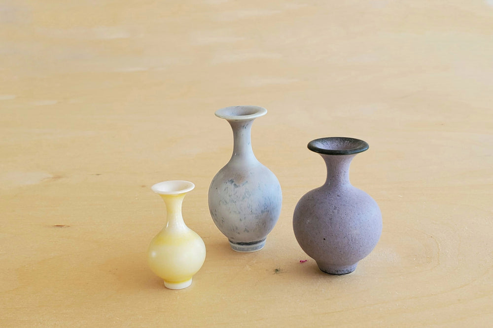 Load image into Gallery viewer, Miniature Handthrown Ceramic Vase Trio