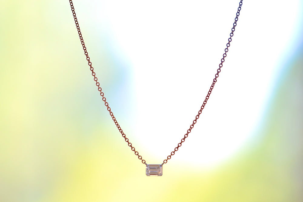 TAP by Todd Pownell Emerald Cut Diamond Necklace Platinum links 18k Rose Gold Chain 1 One diamond ethically sourced made in Ohio US