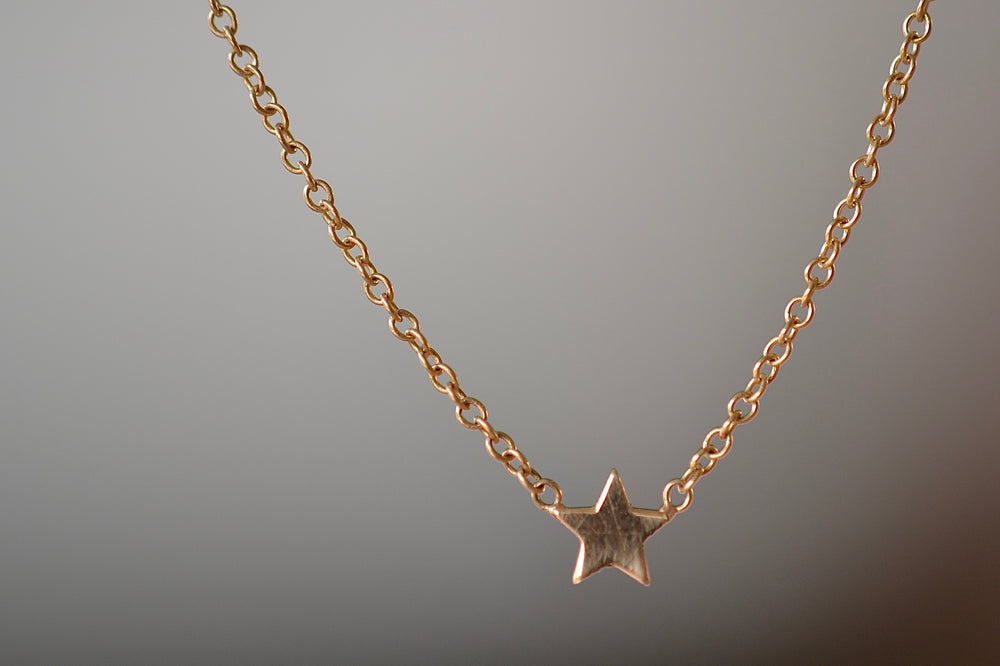 "Zoe Chicco 14k Itty Bitty Star Pave Diamond Necklace with 6 six white diamonds on a 16"" cable chain in recycled gold back"
