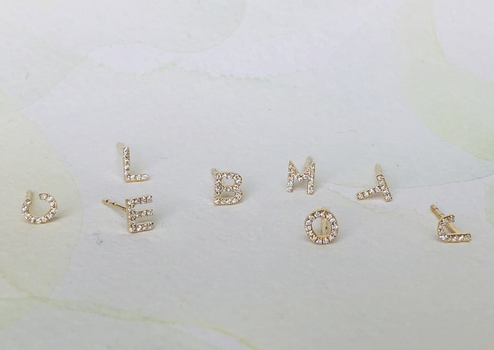 Load image into Gallery viewer, OK Diamond Letter Stud Block letter initial in 14k yellow gold with white diamond pave