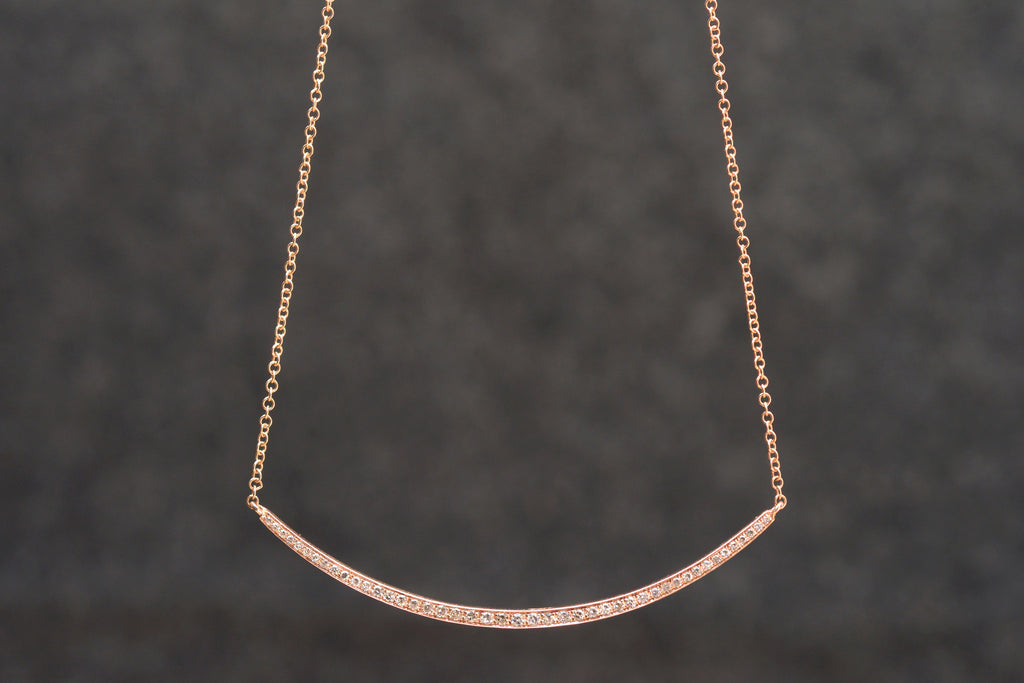 Pave Diamond Curved Bar Necklace | OK