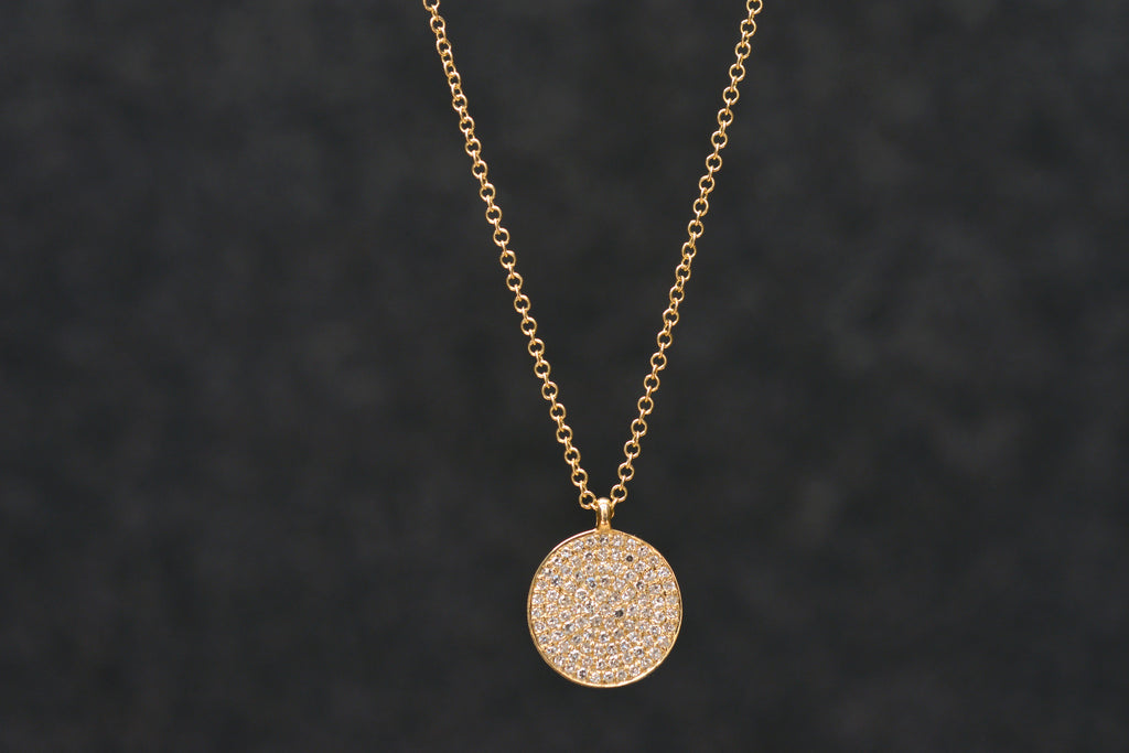 Pave Diamond Disc Necklace | OK