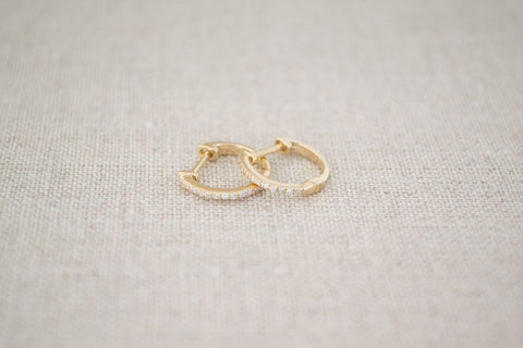 Pave Diamond Huggie Earrings | OK