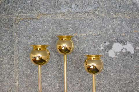 Brass Tulip Candle Holder Set of 3 | OK