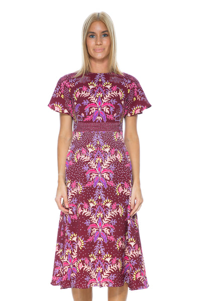PRINTED WAFFLE DRESS BORDEAUX