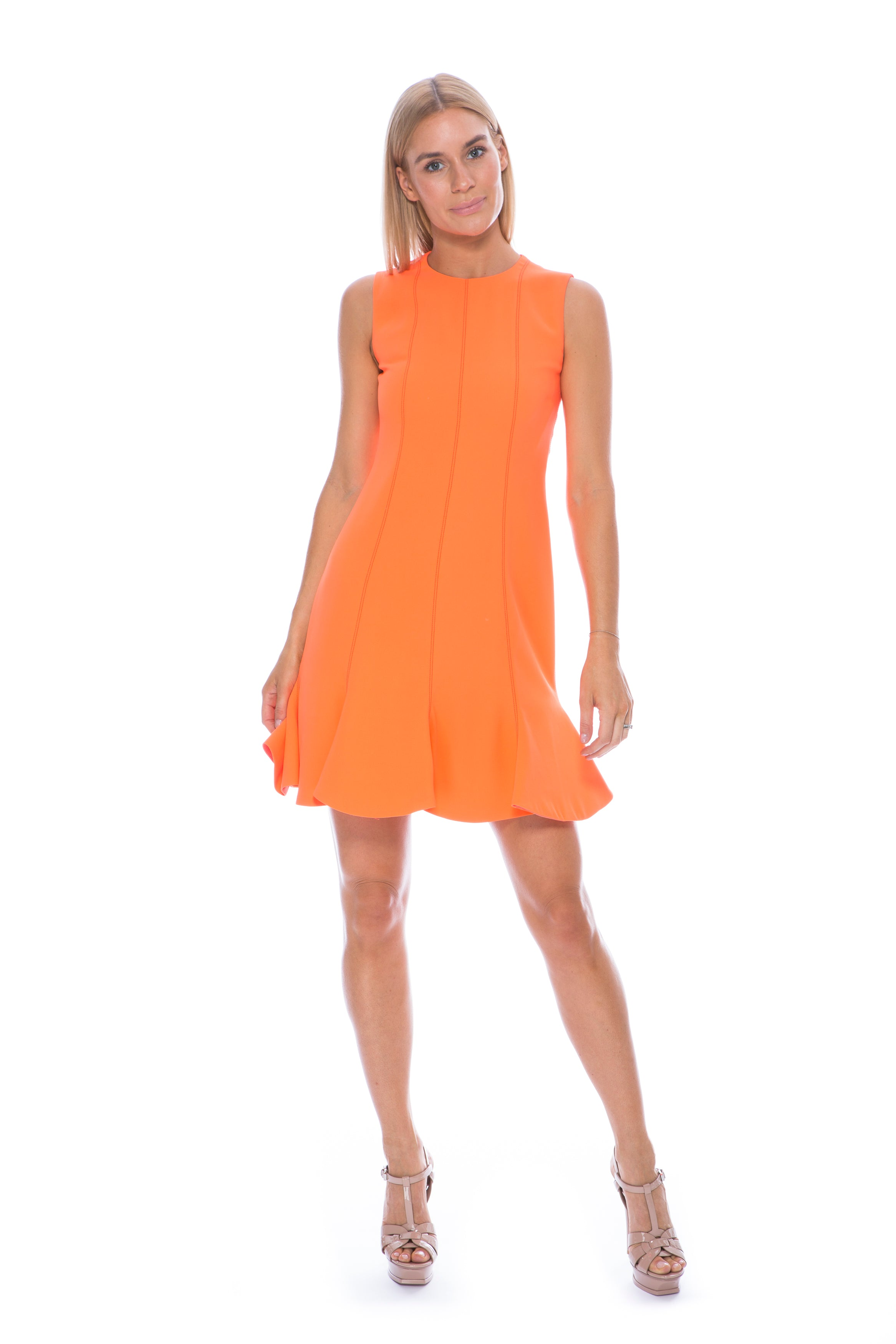 FLOUNCE HEM SHIFT DRESS NEON CORAL
