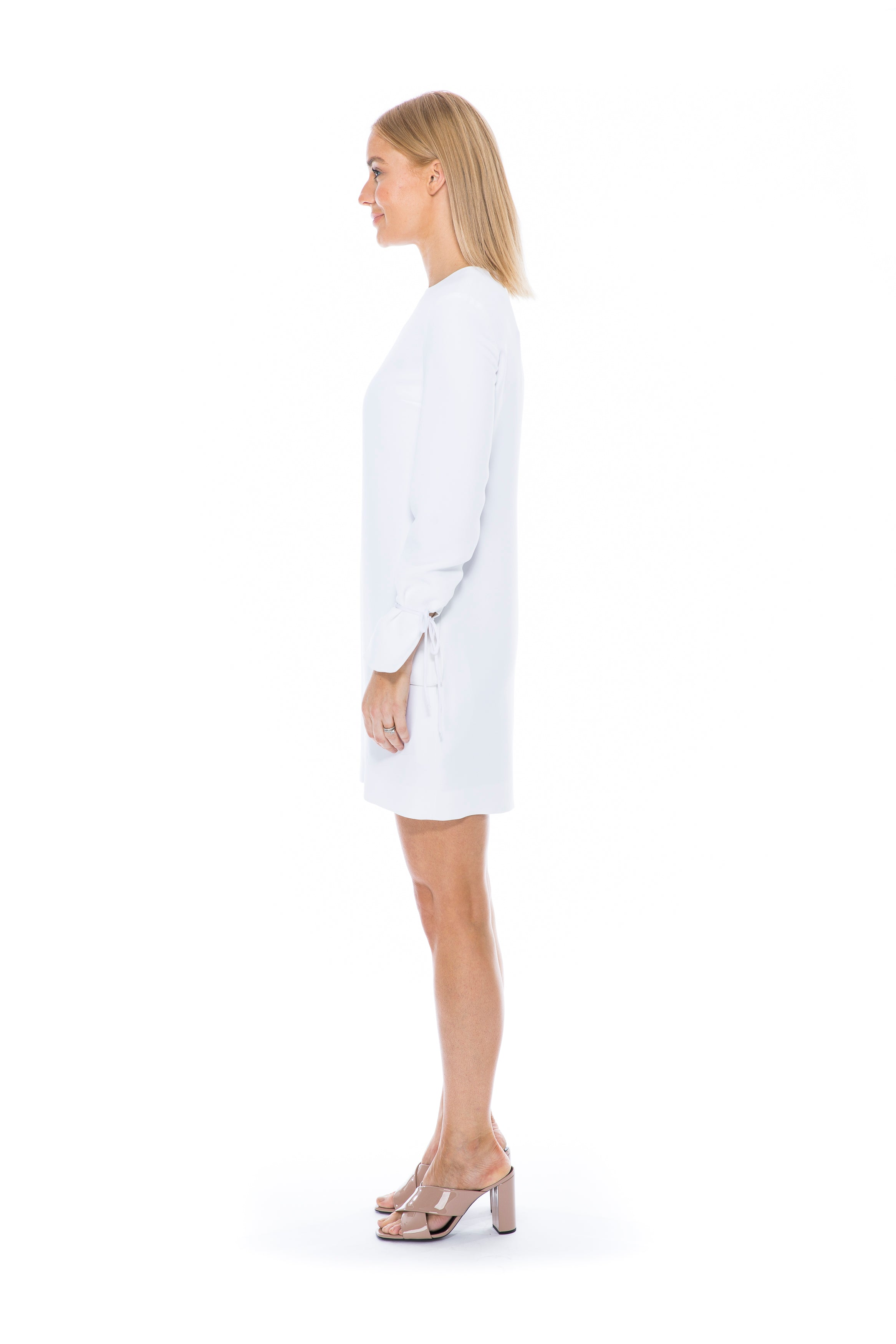 SOFT CREPE LONG SLEEVE DRESS WHITE