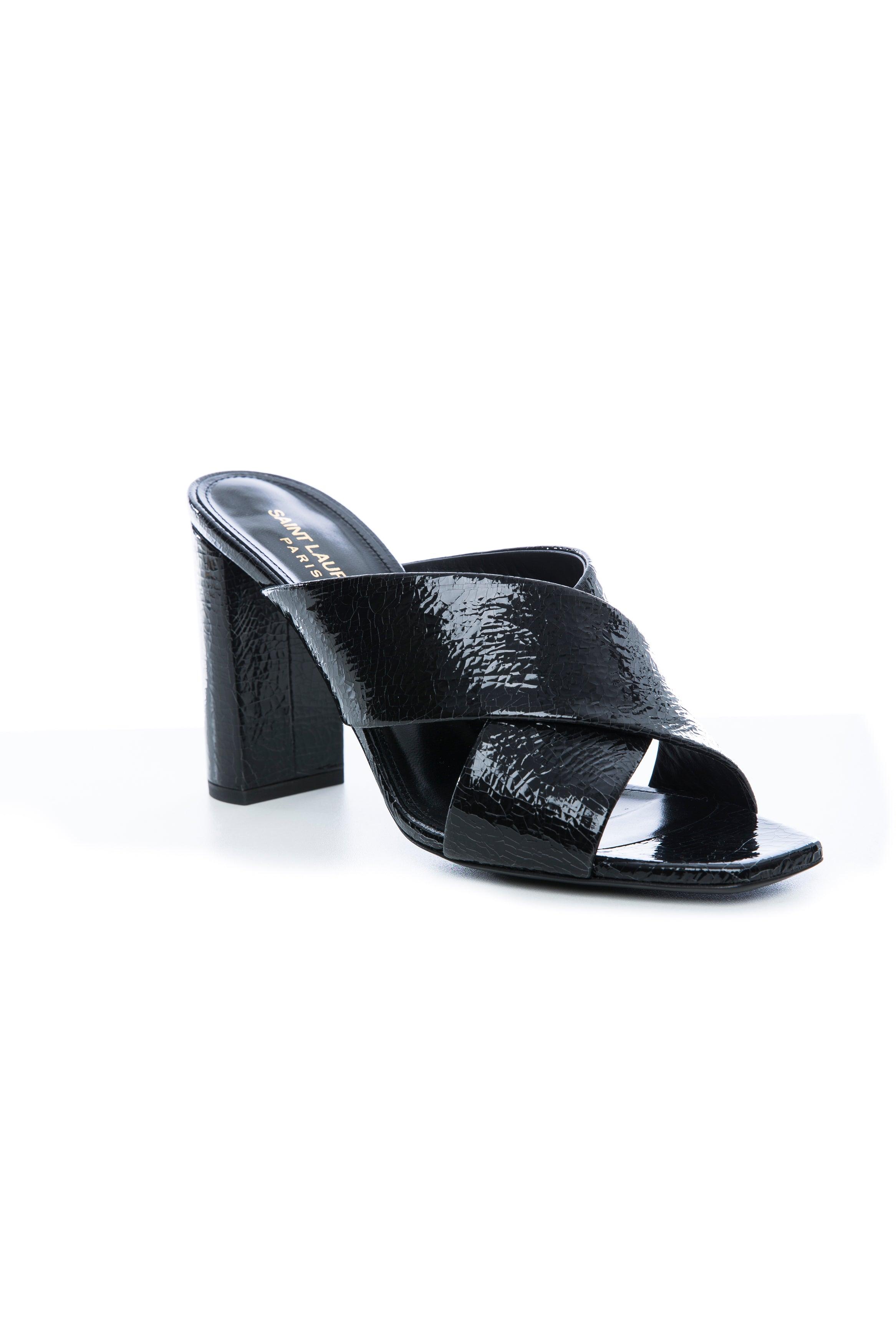 LOULOU 95 MULE BLACK METALLIC CRACKED LEATHER