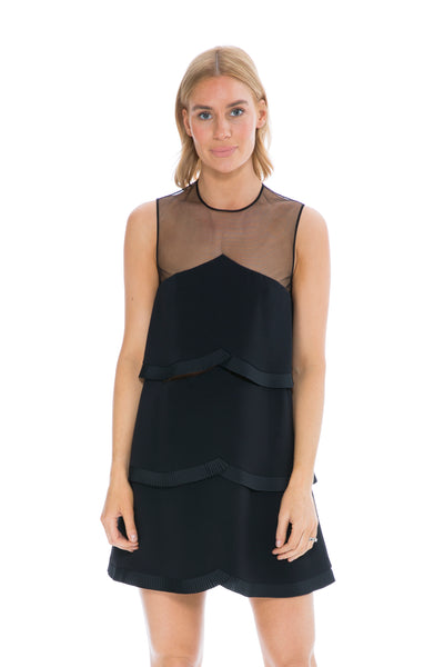 BLACK TIERED DRESS WITH MESH DETAIL