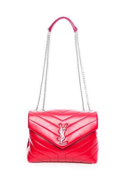 "LOULOU SMALL IN MATELASSE ""Y"" LEATHER RED"