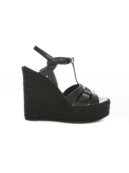 TRIBUTE ESPADRILLE WEDGE BLACK LEATHER