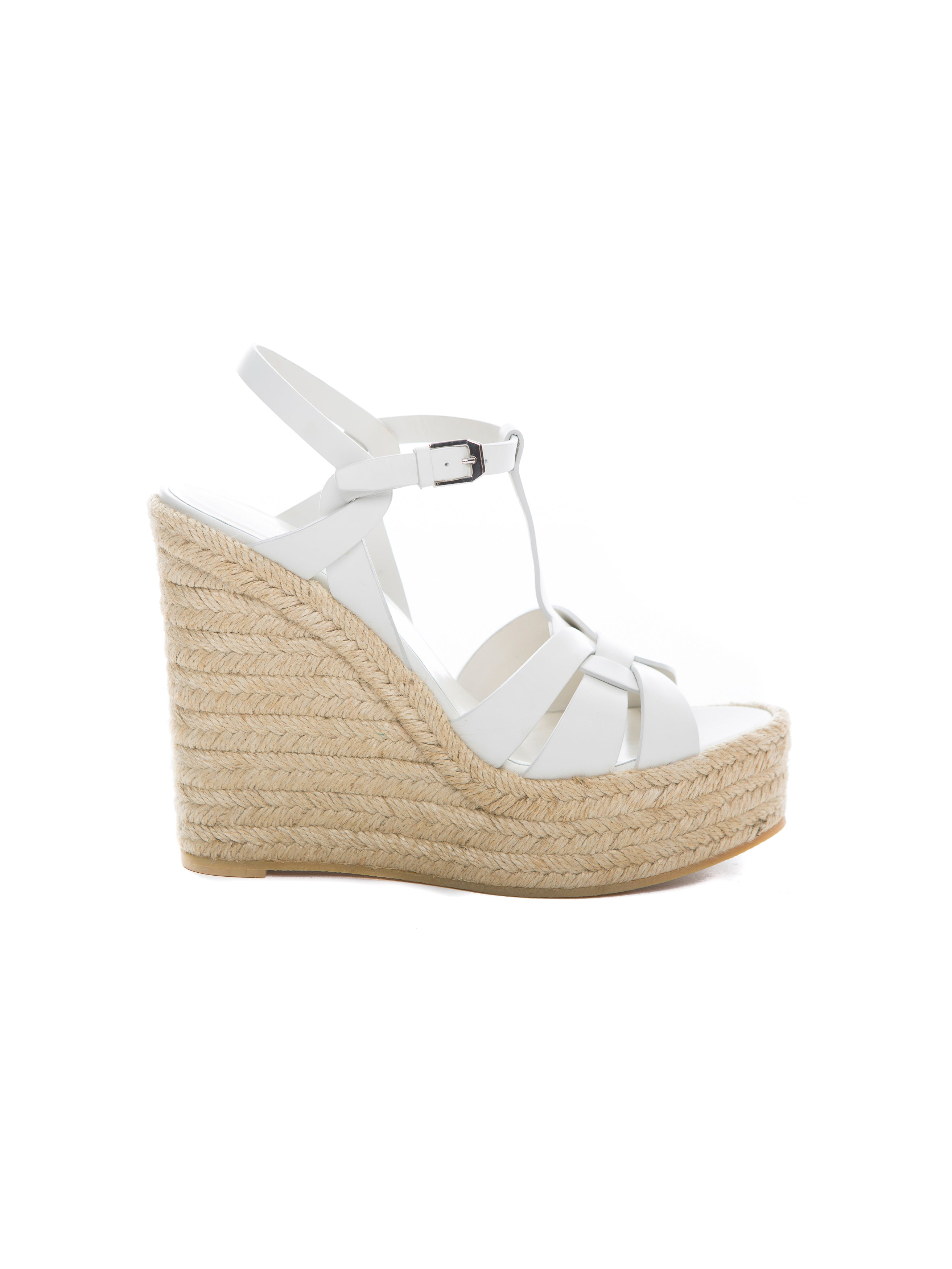 TRIBUTE ESPADRILLE WEDGE DOVE WHITE LEATHER