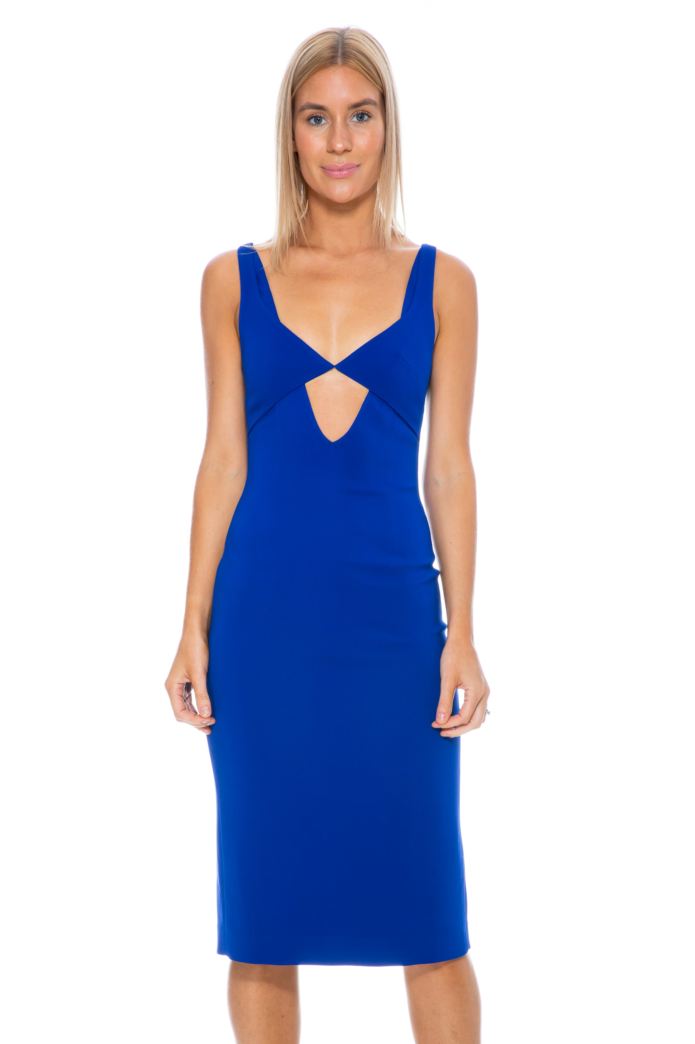 CADY TESSELATE SHEATH DRESS COBALT