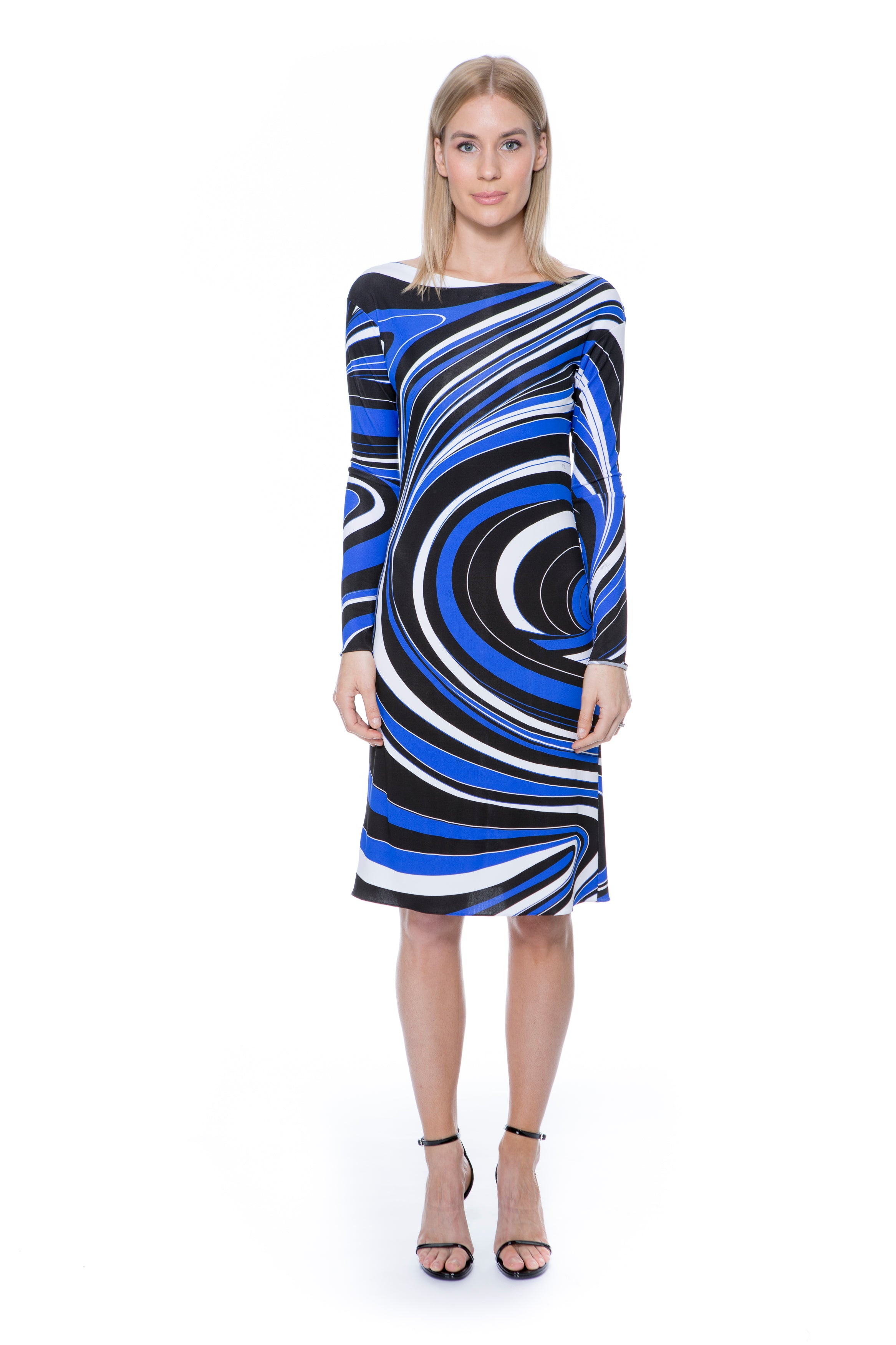 BLUE AND BLACK PRINTED DRESS