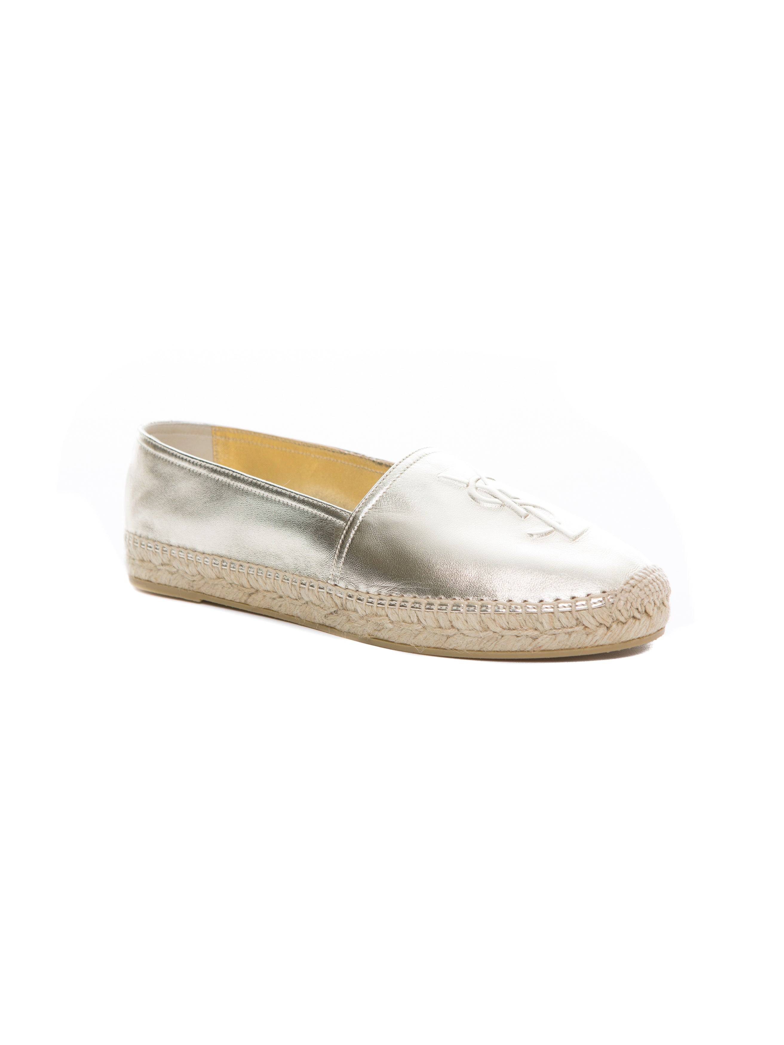 MONOGRAM ESPADRILLE IN PALE GOLD METALLIC LEATHER