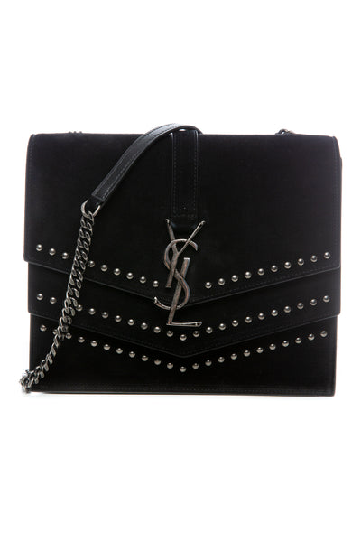 SULPICE BAG BLACK SUEDE WITH STUDS