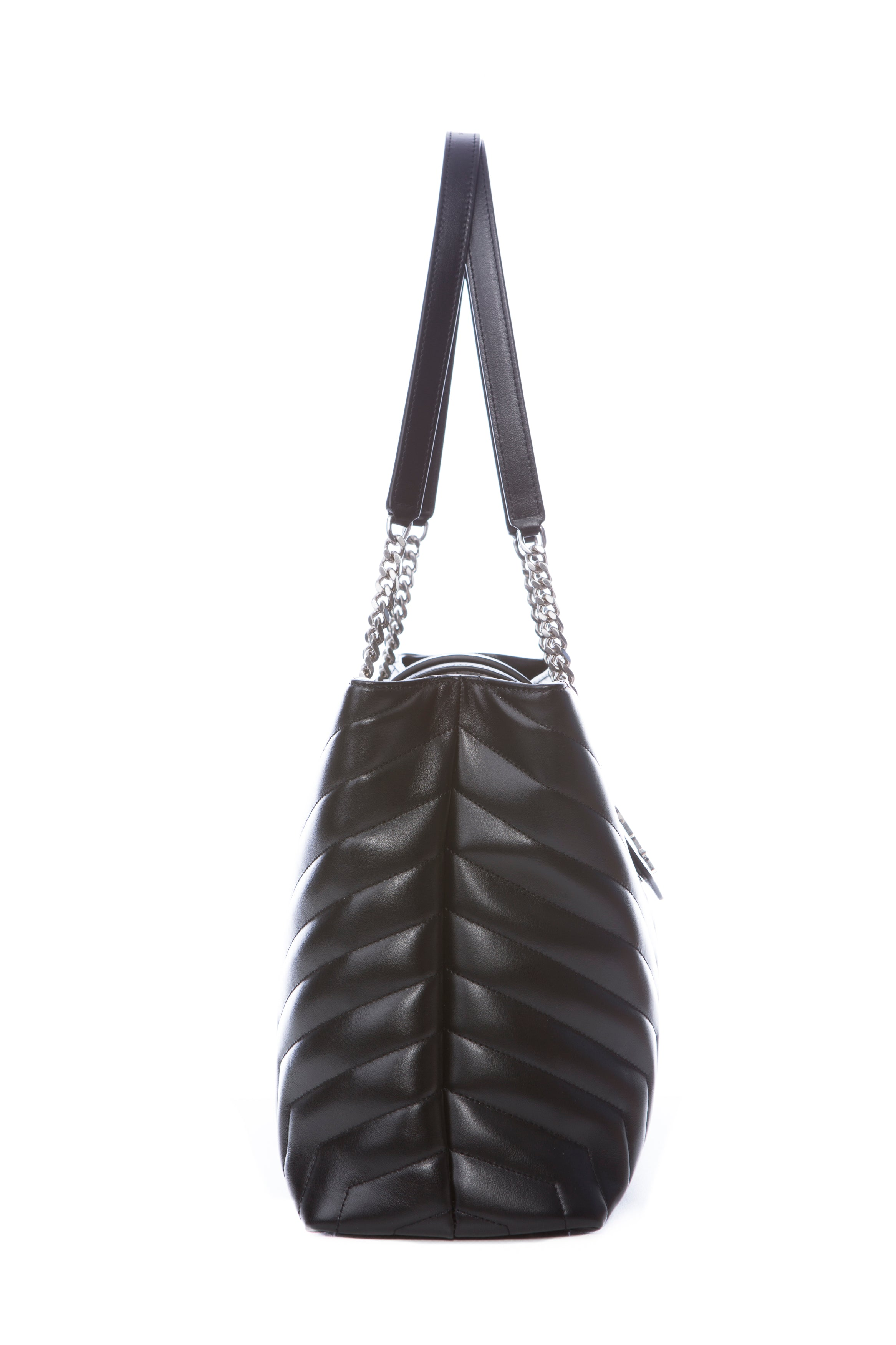 LARGE LOULOU SHOPPING BAG IN BLACK Y QUILTED LEATHER